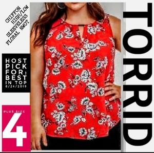 Torrid Floral High Low Top Plus Size 4 Nwot